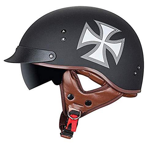 Medio casco Casco abierto de motocicleta Gafas certificadas, Cruiser Machete Motocicleta, con DOT/ECE Seguridad deportiva Casco de motocicleta Casco de motocicleta Mofa 6,L=58-59CM