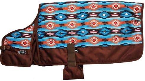 Showman Teal /& Orange Southwest Design Waterproof /& Breathable Dog Blanket