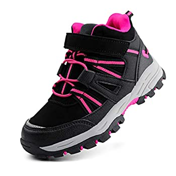 brooman Kids Waterproof Hiking Boots Boys Girls Outdoor Adventure Shoes  3,Black/Fuchsia