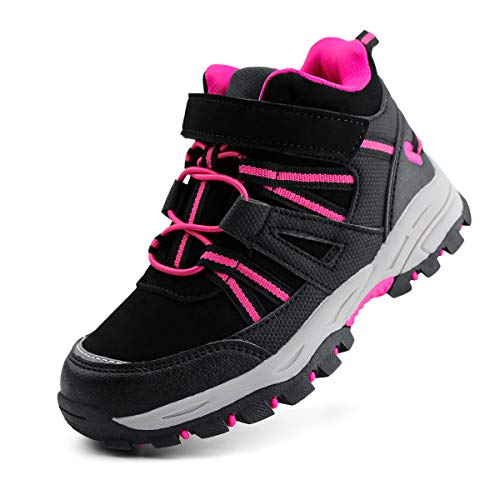 brooman Kids Waterproof Hiking Boots Boys Girls Outdoor Adventure Shoes (4,Black/Fuchsia)