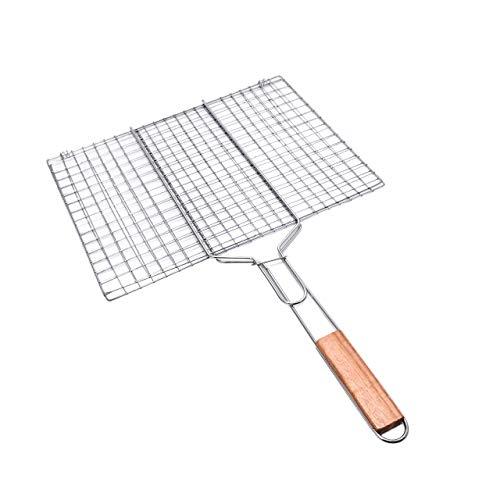Lantelme Grillgitter aufklappbar 60 x 40cm Metall Grillkorb mit Holzgriff Grillrost für Fleisch Fisch und Gemüse 8238