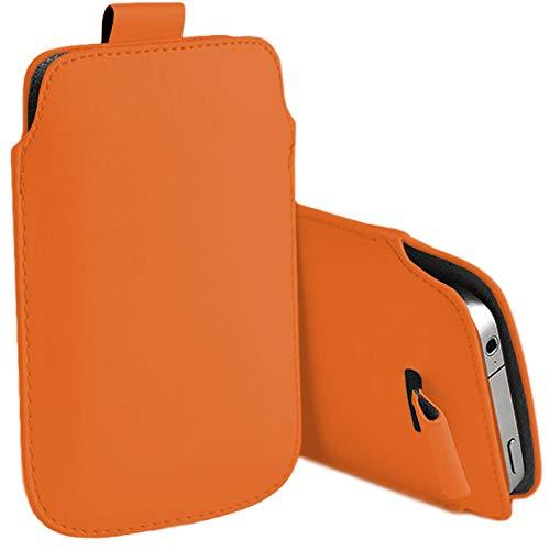MOELECTRONIX Hülle passend für Caterpillar Cat S41 | Slim Schutz Tasche Smartphone Schutzhülle mit Lasche | 1A ORANGE