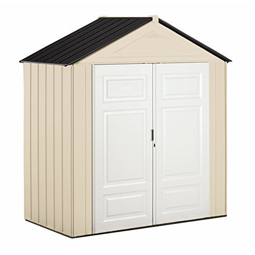 Rubbermaid Outdoor Shed, Plastic, 7x3 Feet, Maple/Sandstone (1862705)