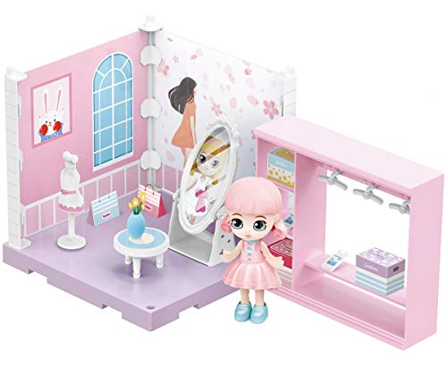 Yes Baby DIY Miniature Dollhouse Kit for Kids, Mini Role Play Dollhouse with Doll, Furniture and Accessories, Birthday Gift for Girls (Dressing Room)