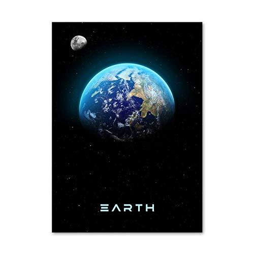 HUA JIE Soggiorno Modernidecorazioni per La Casa Stampe Pittura Immagini per Pareti Arte Sistema Solare Pianeta Terra Spazio Tela Nordic Poster Moderno