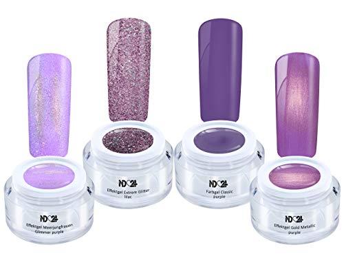 Purple Fame Collection Set - Color Effekt Gel- Gelnägel Farbgel - Made in Germany (4 x 5ml)