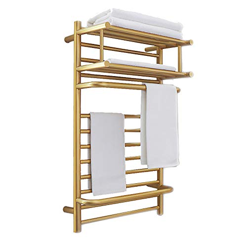 MIJOGO Handdoekradiator handdoekdroger radiator badkamerverwarming handdoekverwarmer badkamerradiator met handdoekhouder voor de badkamer goud geborsteld recht handdoekhouder functie 500 * 900 mm, plug in,L