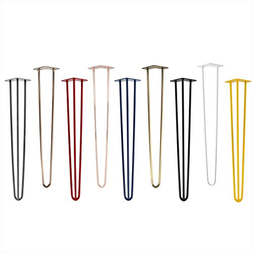 4x Natural Goods Berlin Hairpin Leg Tischbeine |12mm Stahl | viele Farben | alle Größen | 71cm/3 Streben (Schwarz)