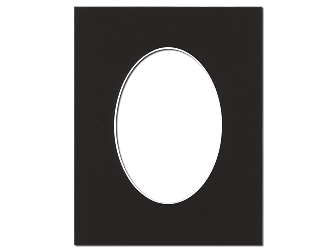 PA Framing, Photo Mat Board, 5 x 7 inches Frame for 3.5 x 5 inches Photo Art Size, Oval - Cream Core/Black