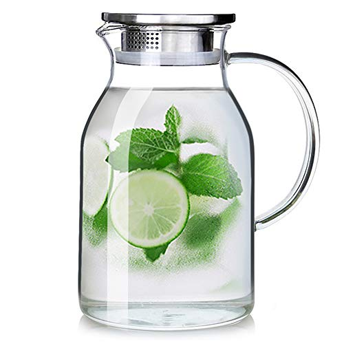 88OZ Glass Pitcher with Lid and Spout - High Heat Resistance Pitcher for Hot/Cold Water & Iced Tea...