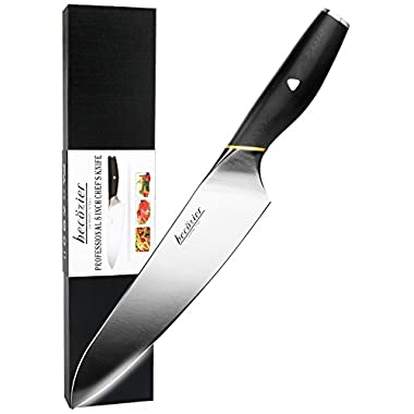 Becozier Kitchen Chef Knife, 8  Professional German Stainless Steel Kitchen Knife with G10 Handle Sharp Edge Ergonomic Grip