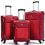 BONTOUR Stoffkoffer Trolly Reisekoffer Set mit TSA-Schloss, 4-Rollen Reisetrolley Leicht mit Vordertasche (Rot, 3er Koffer Set)