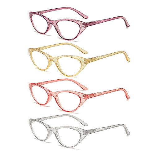 100 Classic Ladies Cateye Reading Glasses with Crystal Sand Temple and Spring Hinges 4 Pack Fashion Readers for Women R2960G (2.25)