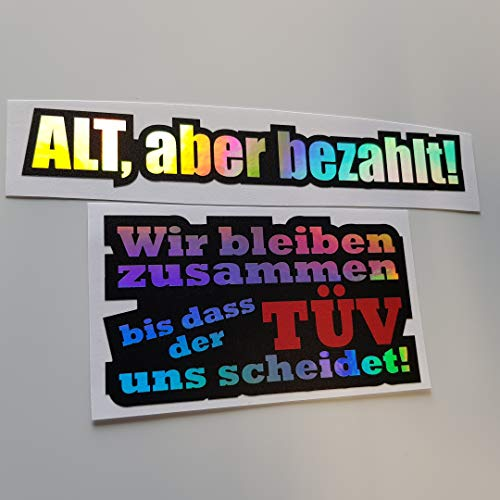 Foliezentrum 2-delige set Alt maar betaalt tot de Tüv hologram Oilslick Rainbow Flip Flop Sticker Metallic Effect Shocker Auto JDM Tuning OEM Dub Decal Sticker Illest Dapper Oldschool