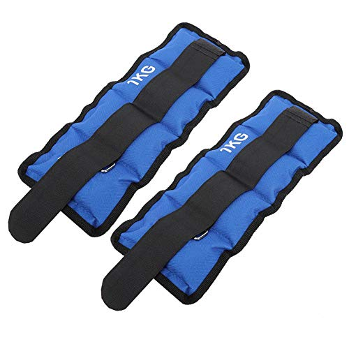 Naroote Pesas de Tobillo, Bolsas de Arena Azules de 1 kg, prácticas para Hombres, Mujeres, entusiastas del Fitness, Entrenamiento Muscular(1KG)