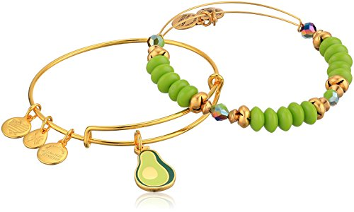 Alex and Ani Women's Color Infusion, You Guac My World, Set of 2 Bracelet, Shiny Gold, Expandable
