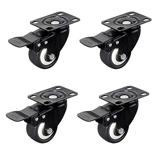 4 X Office Chair Castors, Heavy Duty Castors Swivel Wheel With Anti Scrap And Smooth Glide Function For Hard Laminate Wooden And Tiled Floors, For Home, School, Garage, Shop, Trolley(C)