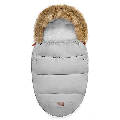 Universal Sacos de Abrigo Carritos Silla de Paseo Saco de invierno Térmica con Capucha Forro Polar Antideslizante Aire Libre Para Cochecito Sillas de Coche (Gris)