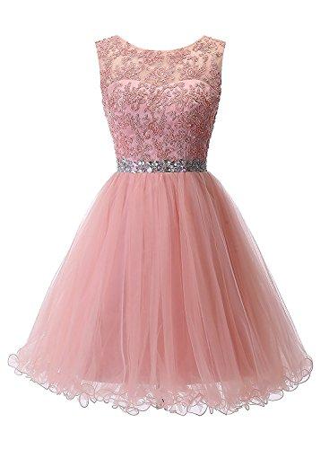 Carnivalprom Damen Abendkleider Für Hochzeit Elegant Spitze Brautjungfer Kleider Ballkleider(Erröten,32)