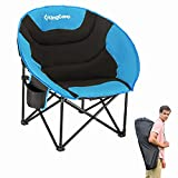 KingCamp Oversized Saucer Round Camping Chair Portable Padded Outdoor Folding Chair for Adult with Cup Holder Back Pocket Carry Bag, Support Up to 300lbs, Blue