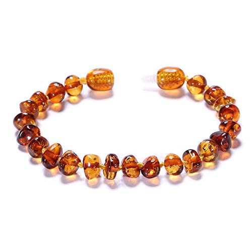 ZHAOXIA Baltic Amber Bracelets/Anklet Sizes 14cm - Cognac - Handmade Polished - Knotted Between Beads