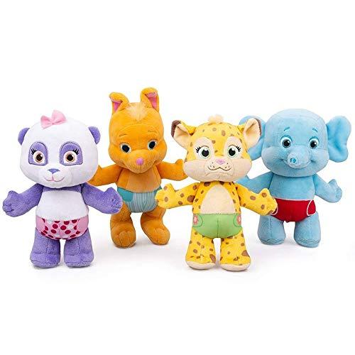 LANZZ 4 Uds 25Cm Palabra Fiesta Juguetes de Peluche Aprendizaje muñeca de Peluche Leopardo Canguro Elefante Panda Animales Juguetes niños Regalos