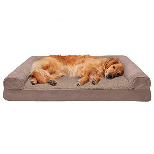 Furhaven Pet Dog Bed - Cooling Gel Memory Foam Ultra Plush Faux Fur and Suede Traditional Sofa-Style Living Room Couch Pet Bed with Removable Cover for Dogs and Cats, Almondine, Jumbo