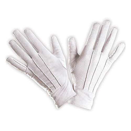 Widmann 1466V – kurze Handschuhe, weiß, ca. 23cm, Accessoire, Kombiniermöglichkeit, Clown Kostüm, Zauberer Kostüm, Motto Party, Karneval