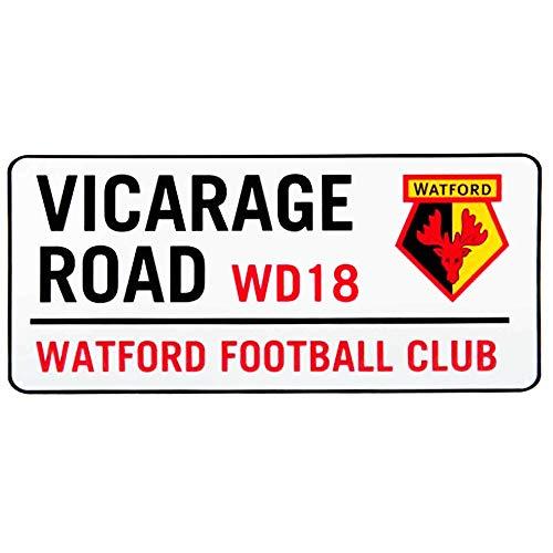 Official Watford FC Vicarage Road Metal Street Sign (40cm x 18cm)