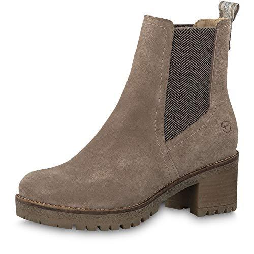 Tamaris Damen Stiefeletten 25936-33, Frauen Chelsea Boots, halbstiefel Stiefelette Schlupfstiefel hoch Damen Frauen weibliche,Taupe,37 EU / 4 UK
