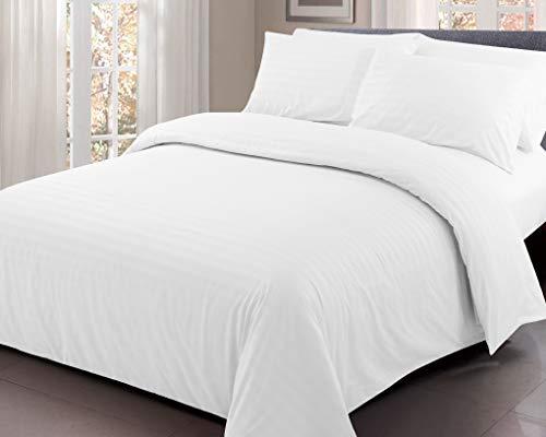 Ausumm Satin Stripe Duvet Cover with Pillow Cases Quilt Microfiber Bedding Set White, Single