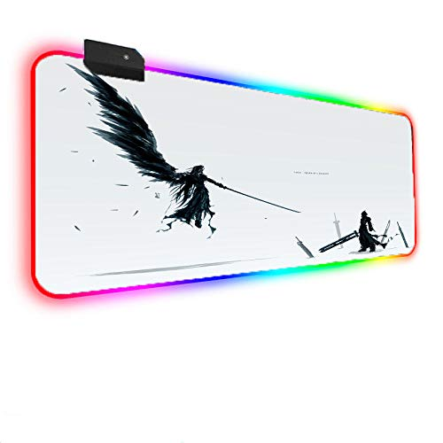 Anime Game Final Fantasy RGB Gaming Mouse Pads 14 Light Modes Large LED for Laptop Computer PC Games 800x300x4 mm