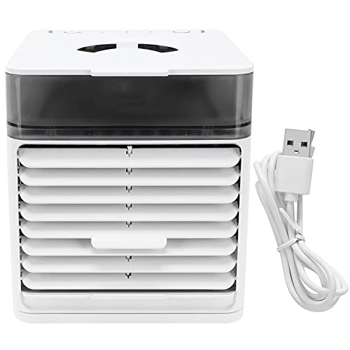 HEEPDD Ventilador de Refrigeración Portátil, Ventilador de Aire Acondicionado de Humidificación Multifunción de 3 Velocidades con LED de 7 Colores para la Cocina del Dormitorio de la Oficina