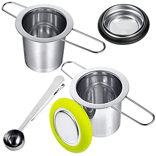 DJ 2 Pack Tea Infusers with Tea Scoop Tea Strainer with Folding Handle 18/8 Stainless Steel Tea Filter Extra Fine Mesh Strainer Brewing Basket with Silicone Lid for Loose Leaf Tea
