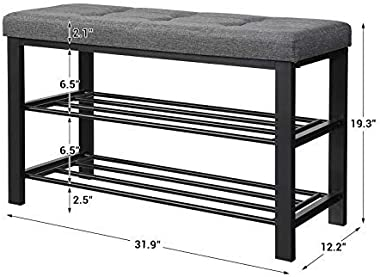 SONGMICS Shoe Bench, 3-Tier Shoe Rack for Entryway, Storage Organizer with Foam Padded Seat, Linen, Metal Frame, for Living R