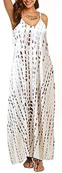 OURS Women s V Neck Print Spaghetti Strap Boho Long Maxi Summer Beach Dress Sundress with Pockets  M Z-Coffee