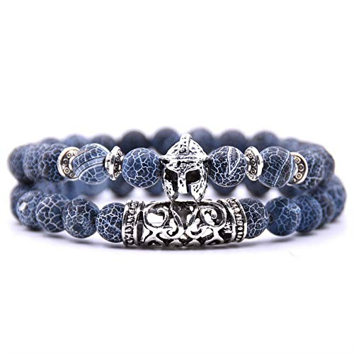 ZGRJIUERYI Stenen armband, natuursteen armband, set legering, helm, combinatie, armband, zwart, weerbestendig, fossil-armband, gepersonaliseerde kledingaccessoires, parelarmband
