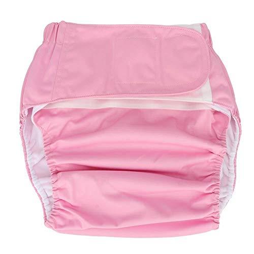 Pañales de tela para adultos, pañales impermeables y reutilizables para la protección de la incontinencia para ancianos Ropa interior con máxima absorción para hombres o mujeres(Rosado)