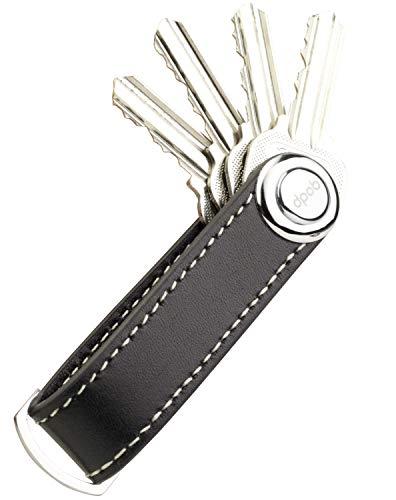dpob Llavero, organizador de llavero compacto de cuero Llavero de diseño inteligente y práctico - Hecho de cuero de primera calidad duradero (Black)