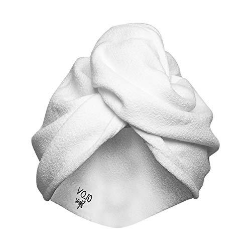 Turbante per Capelli Asciugamano per Capelli a Turbante Microfibra con Bottone Doccia con Pulsante per Tutti i Tipi di Capelli Bagnati Asciugamano da Doccia Taglia Universale (Bianco)