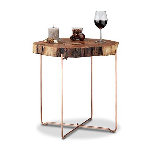 Relaxdays Beistelltisch Holz rund, Akazien Baumscheibe mit Kupfer, Massivholztisch mit Metallbeinen, HxD 56,5x50cm,natur