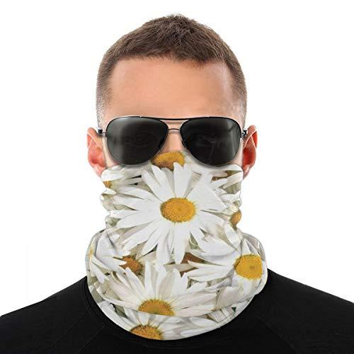 OUYouDeFangA - Diadema unisex con patrón de margaritas blancas, multifunción, poliéster, de secado rápido, suave, pañuelo para el cuello, bufanda, pañuelo, máscara, cuello, polaina, para hombres y mujeres