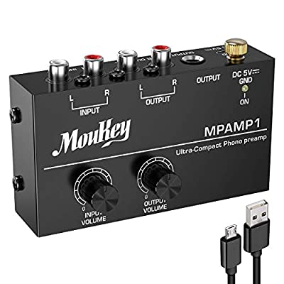 Moukey Compact Stereo Phono Preamp, Digital Turntable Hifi Amplifier Preamplifier DC 5V Power Amp with RCA Input Output Low Noise, MPAMP1
