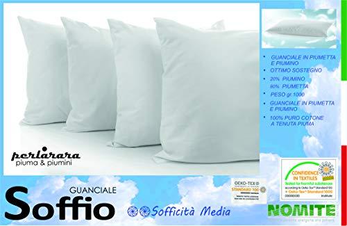 PERLARARA - Cuscino in Piuma D'Oca Soffio | Guanciale 50x80 cm - Cuscino Piuma D'Oca 100% | 80% Piumetta, 20% Piumino | Cuscino Letto Matrimoniale | Sofficità Media