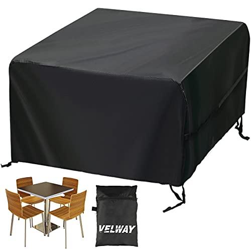Velway Funda para Muebles de Jardín Exterior, Protectora para Mesas Cuadrada de Patio, Cubierta de Sofá Silla de Paño Oxford Impermeable a Prueba de Polvo Lluvia Sol Viento, 125x125x74cm Negro