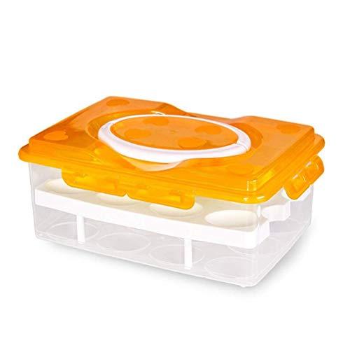 Calayu eierhouder, dubbellaagse eierhouder, eierbewaardoos met 24 roosters en handvat voor transport en koeling 25 x 18.5 x 11 cm geel