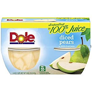Dole, Diced Pears in Juice, 4 Ounce (Pack of 4) |