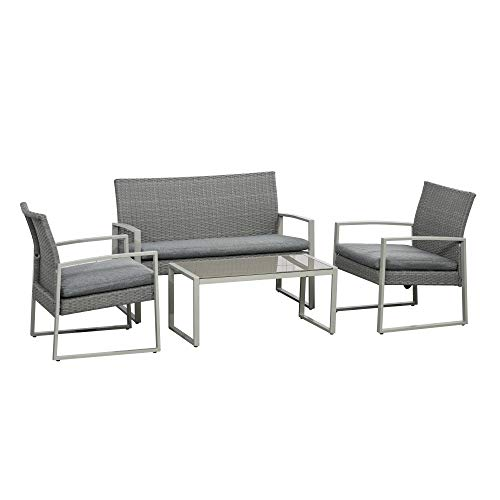 Outsunny 4 PCs PE Rattan Wicker Sofa Set Outdoor Conservatory Furniture Lawn Patio Coffee Table w/Cushion, Grey