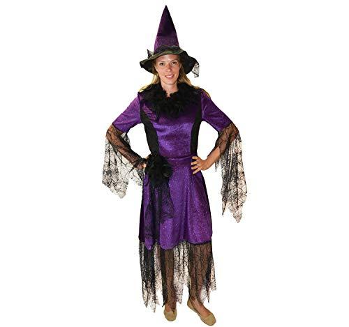 Disfraz de Bruja para Mujer con Sombrero Vestido de Bruja S, M, L Carnaval de Halloween (S)