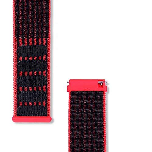 GZMYDF Tela Reloj Correa Mujeres Reloj Bandas 22 mm Nylon Watch Bands para la Correa de Reloj Huawei GT (Band Color : Black Red, Band Width : 22mm)
